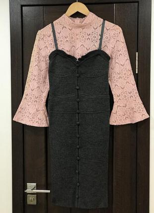 Шерстяное бандажное платье сарафан в бельевом стиле