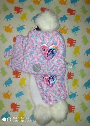 Новый зимний комплект (шапка,шарф,перчатки) george серия my little pony