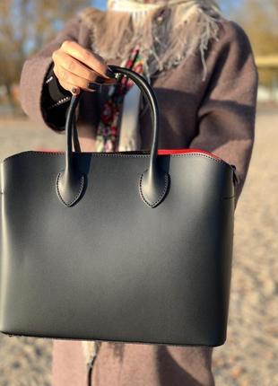 Женская кожаная сумка шопер италия borse in pelle