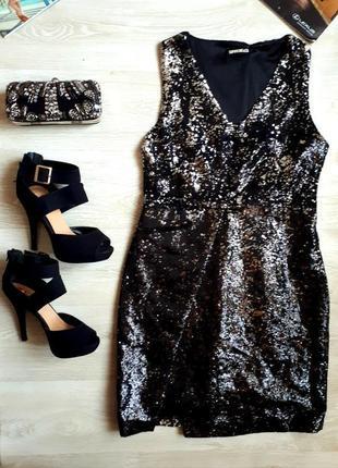 Блестящее платье / платье в 2-х сторонних пайетках