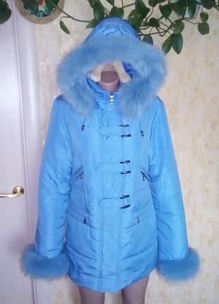 Пуховик с натуральным мехом песца и капюшоном//пальто/куртка/плащ/пуховик