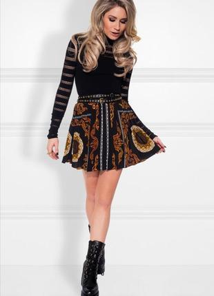 Nikkie черная юбка с принтом в стиле барокко
