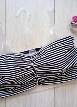 Чёрно-белый полосатый бандо, лиф, топ