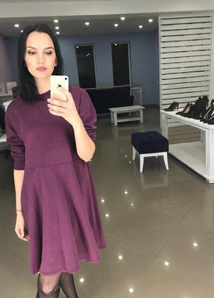Zara платье повседневное свитшот сливового цвета s
