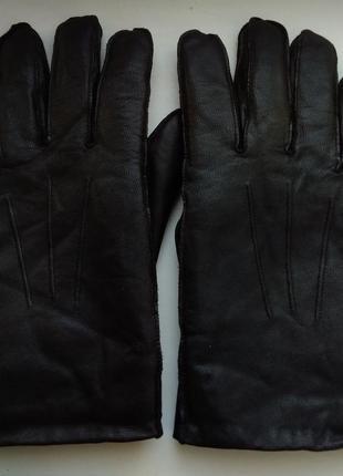 Кожаные теплые перчатки на большую руку