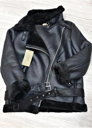 Дубленка zara авиатор чёрная на меху мех дубляж эко кожа куртка