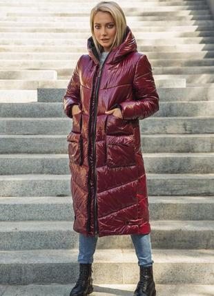 Куртка зимняя миди пуховик эксклюзив marani дизайнерский