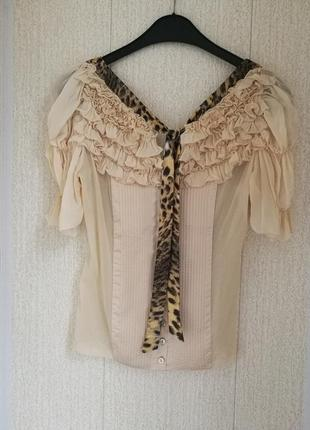 Дизайнерская нюдовая блуза в викторианском стиле, just cavalli