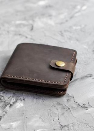 Мужской коричневый кошелек на кнопке из натуральной кожи crazy horse