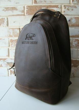 Очень крутой винтажный кожаный рюкзак/ коричневый рюкзак