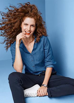 Элегантная джинсовая рубашка- блуза от тсм tchibo (чибо), германия, размер укр 44-46