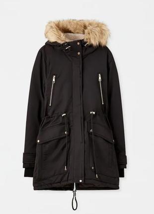 Черная фирменая зимняя демисезоная парка куртка пальто 2-в-1 pull&bear
