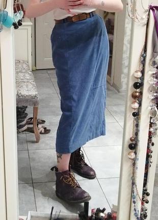 Синяя классическая миди юбка карандаш под замш