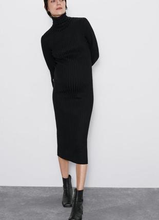 Платье длинное в рубчик zara