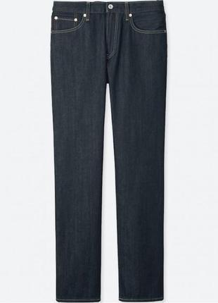 Темно-синие прямые джинсы uniqlo из плотного хлопка