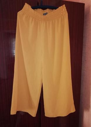 Кюлоты на резинке штаны широкие primark желтые