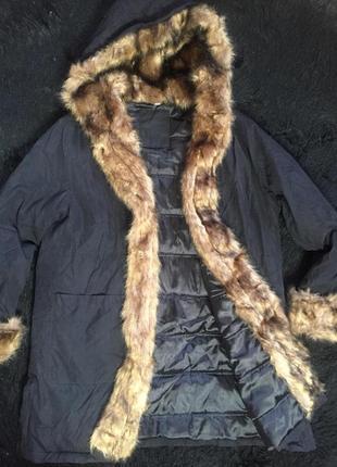 Роскошное пальто  парка с капюшоном  от woman's fashion