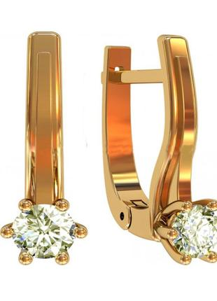 Золотые серьги с натуральными бриллиантами 0,30 карат. желтое золото