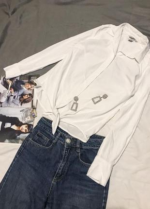 Базовая белая рубашка с узлом от h&m