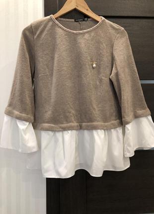 Нежная кофта с имитацией рубашки