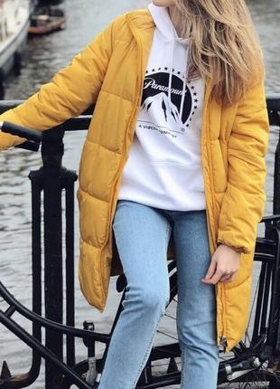 Пуховик длинный демисезон желтый