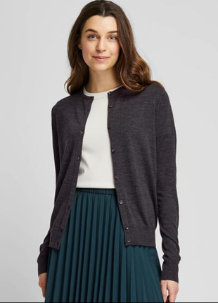 Мягкий шерстяной кардиган-блуза uniglo