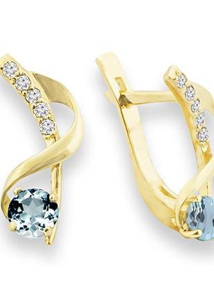 Золотые серьги с аквамарином и бриллиантами 0,05 карат. желтое золото