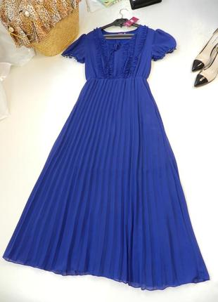 ✅красивое платье в пол с юбка плисе рукав фонарик рюши на груди