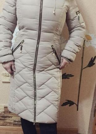 Пальто зимне пуховик мех чернобурки