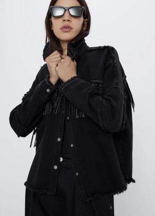 Куртка с бахромой zara, рубашка zara