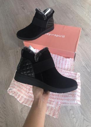 Замшевые ботинки женские фирменные чёрные кожаные 38 39 размер