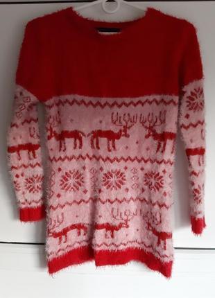 Новогодний свитер травка с оленями размер s