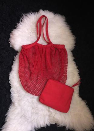 Авоська пляжная сумка шопер сетка плетёная хлопок с косметичкой