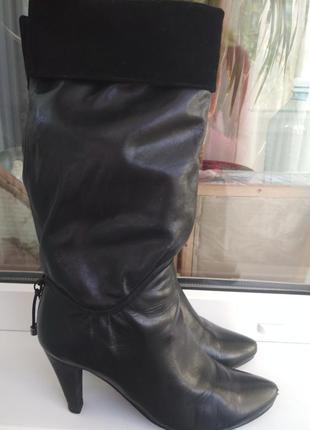 Сапоги ботинки кожаные черные демисезонные каблук черные