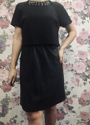 Чёрное платье с кожаной юбкой