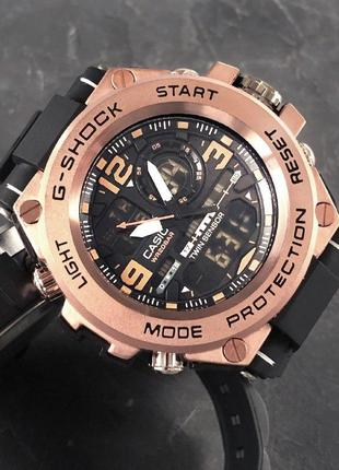 Чоловічій сталевий спортивний годинник casio g-shock бронзовий