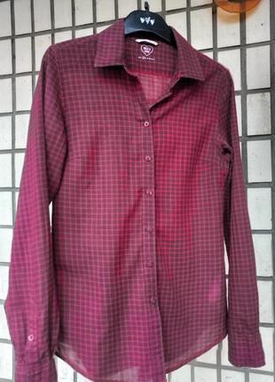 Рубашка в клетку mustang красная