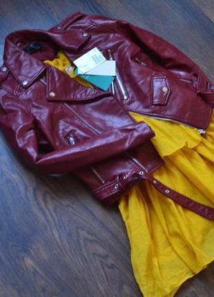 Бордовая косуха оригинал zara курточка кожаная куртка цвета бургунди