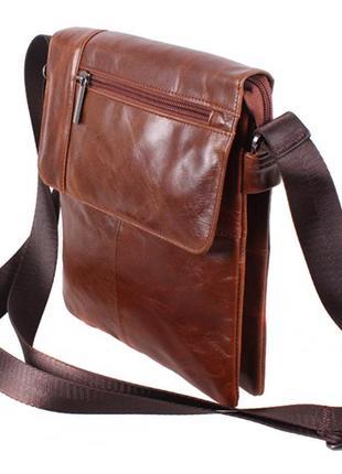 Мужская сумка из гладкой кожи, коричневая