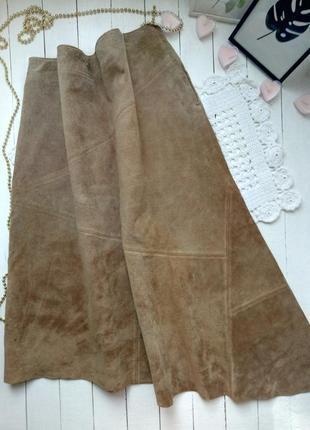 Замшевая миди юбка с ассиметрчным низом