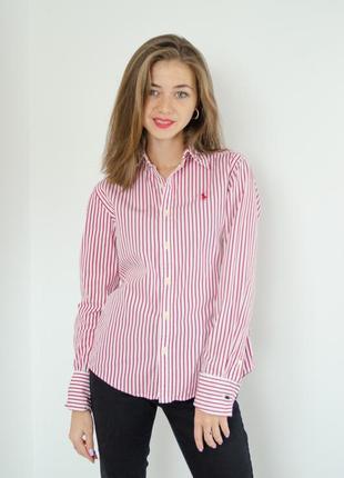 Ralph lauren оригинальная рубашка под запонки в вертикальную полоску, полосатая сорочка