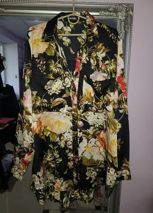Крутая удлиненная оверсайз блуза missguided - 14 р-р