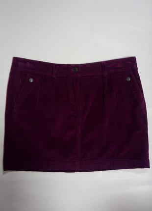 Юбка, вельветовая, классическая, фиолетовая, короткая, размер l
