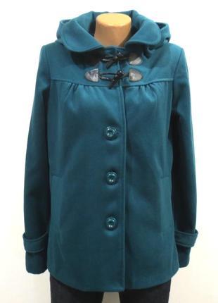 Шерстяное пальто цвета морской волны от y.d.съемный капюшон размер: 46-м