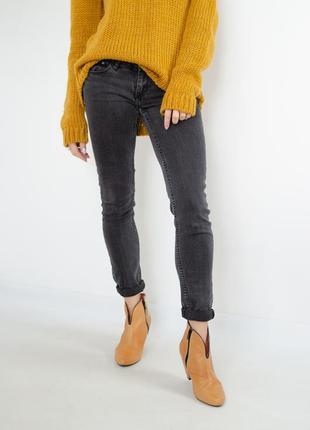 H&m выбеленные черные джинсы скини, узкачи на бедра, бедровки, с карманами