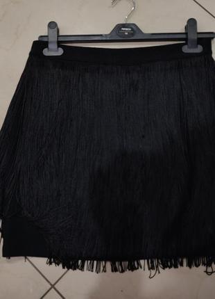 👑♥️final sale 2019 ♥️👑  стильная черная мини юбка с бахромой