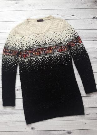 Шерстяной вязаный свитер вязаное теплое платье туника