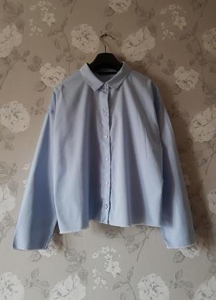Стильная рубашка прямого фасона zara,голубая рубашка,рубашка с необработанными краями