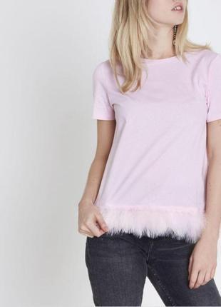 Розовая нежная футболка топ с перьями большой размер 16/18 river island