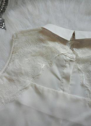 Белая двухсторонняя блуза шифон без рукава рубашка с гипюром ажурными вставками вышивка